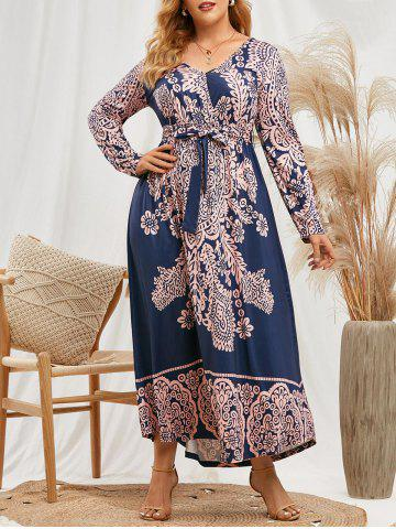 Plus Size Printed Belted Maxi Surplice Dress - DEEP BLUE - 3X