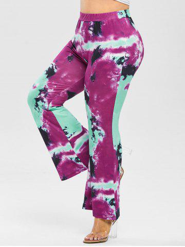 Plus Size High Rise Tie Dye Bell Bottom Pants - PURPLE - 4X
