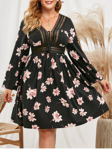 Crochet Trim Tassels Tie Collar Floral Plus Size Dress - BLACK - 5X