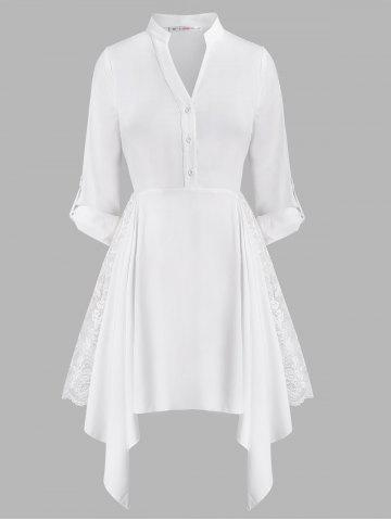 Button Front Handkerchief Lace Panel Plus Size Shirt Dress - WHITE - 2X