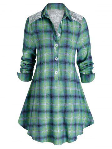 Plus Size Plaid Print Lace Panel Tunic Blouse