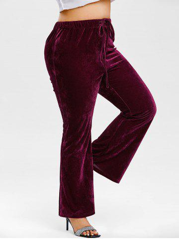 Plus Size Drawstring Crush Velvet Bootcut Pants - CONCORD - 5X