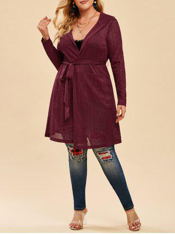 Plus Size Hooded Belted Open Front Cardigan - RED WINE - 1X