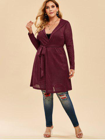Plus Size Hooded Belted Open Front Cardigan