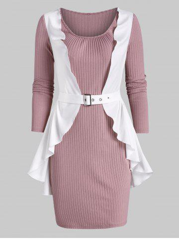Flounced Ribbed Twofer Bodycon Dress - PINK - 3XL