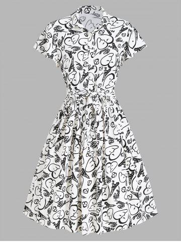 Half Button Face Heart Graphic Print Belted Dress - WHITE - M