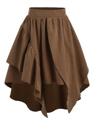 Plain Layered Asymmetrical High Waist Skirt