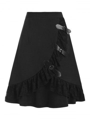 Multi Buckles Lace Panel Mini Gothic Skirt