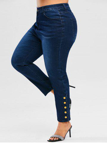 Plus Size High Waist Metal Buttons Jeans