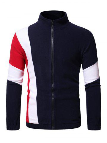 Contrast Zip Up Fleece Jacket - CADETBLUE - L