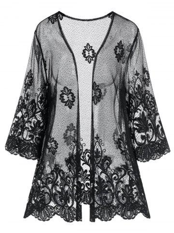 Plus Size See Through Scalloped Anthemion Lace Robe - BLACK - L