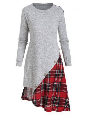Plaid Panel 2 In 1 Buttons Asymmetric Dress
