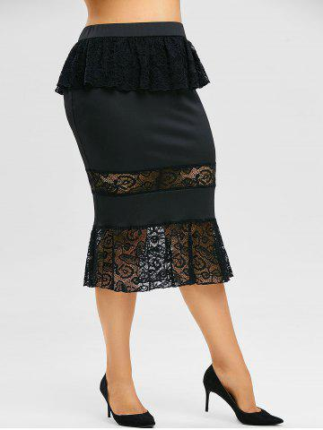 Plus Size Lace Insert Ruffle Midi Fishtail Skirt - BLACK - 5X