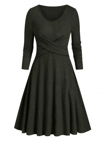 Ribbed Front Cross Knitted Flare Dress - DARK FOREST GREEN - 3XL