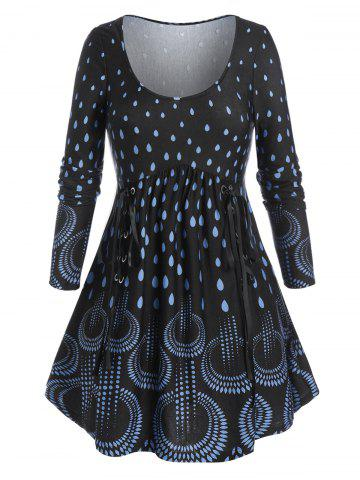 Plus Size Waterdrop Print Lace-up A Line Tunic Tee - BLACK - L