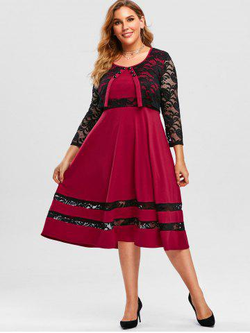 Plus Size Lace Panel Midi Cape Dress