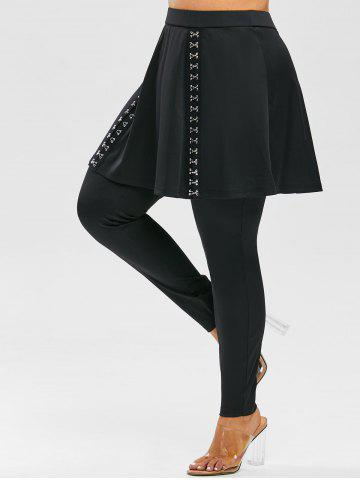 Plus Size High Rise Hook and Eye Skirted Pants - BLACK - 5X
