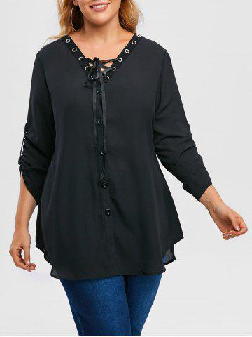 Plus Size Roll Up Sleeve Lace Up Chiffon Top - BLACK - 2X