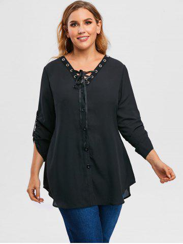 Plus Size Roll Up Sleeve Lace Up Chiffon Top