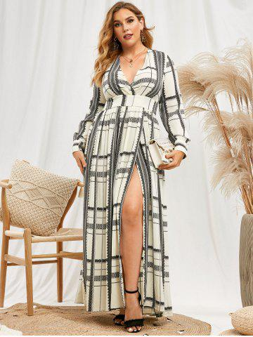 Plus Size Printed High Split Maxi Dress