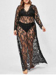 Plus Size Lace See Thru Eyelash Sexy Dress with T-back -