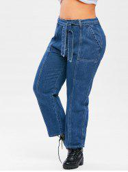 Plus Size Topstitching Belted Wide Leg Jeans -