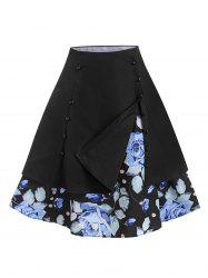 Sailor Style Layered Floral Vintage Skirt -