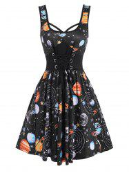 Lace-up Galaxy Planet Print A Line Dress -