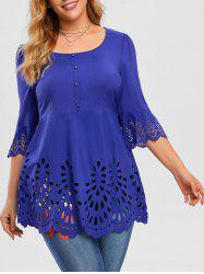 Plus Size Laser Cut Bell Sleeve Top -