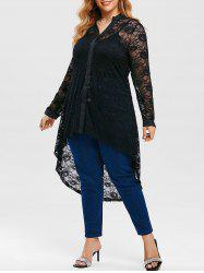 Plus Size Lace High Low Blouse with Long Camisole -