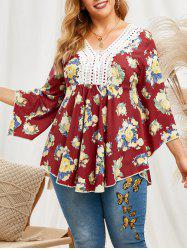 Lace Patched Floral Lace Up Flare Sleeve Plus Size Blouse -