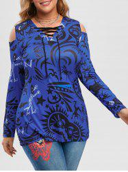 Plus Size Halloween Printed Lace-up Cold Shoulder Tunic Top -