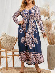 Plus Size Printed Belted Maxi Surplice Dress -
