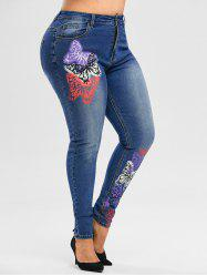 High Waisted Multicolored Butterfly Plus Size Skinny Jeans -