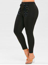 Plus Size Eyelet Lace Up Pants -