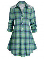 Plus Size Plaid Print Lace Panel Tunic Blouse -