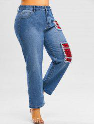 Plus Size Distressed Plaid Patch Jeans -