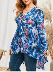 Plus Size Roll Up Sleeve Tie Dye High Low Top -
