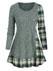 Plaid Panel Mock Button Pullover Knitwear -