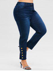 Plus Size High Waist Metal Buttons Jeans -