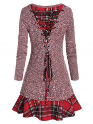 Plaid Panel Back Lace Up Skirted Knitwear -