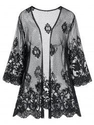 Plus Size See Through Scalloped Anthemion Lace Robe -