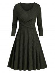 Ribbed Front Cross Knitted Flare Dress -