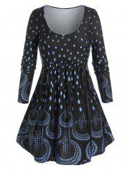 Plus Size Waterdrop Print Lace-up A Line Tunic Tee -