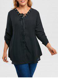 Plus Size Roll Up Sleeve Lace Up Chiffon Top -