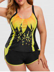 Plus Size Crisscross Patterned Boyleg Tankini Swimwear -