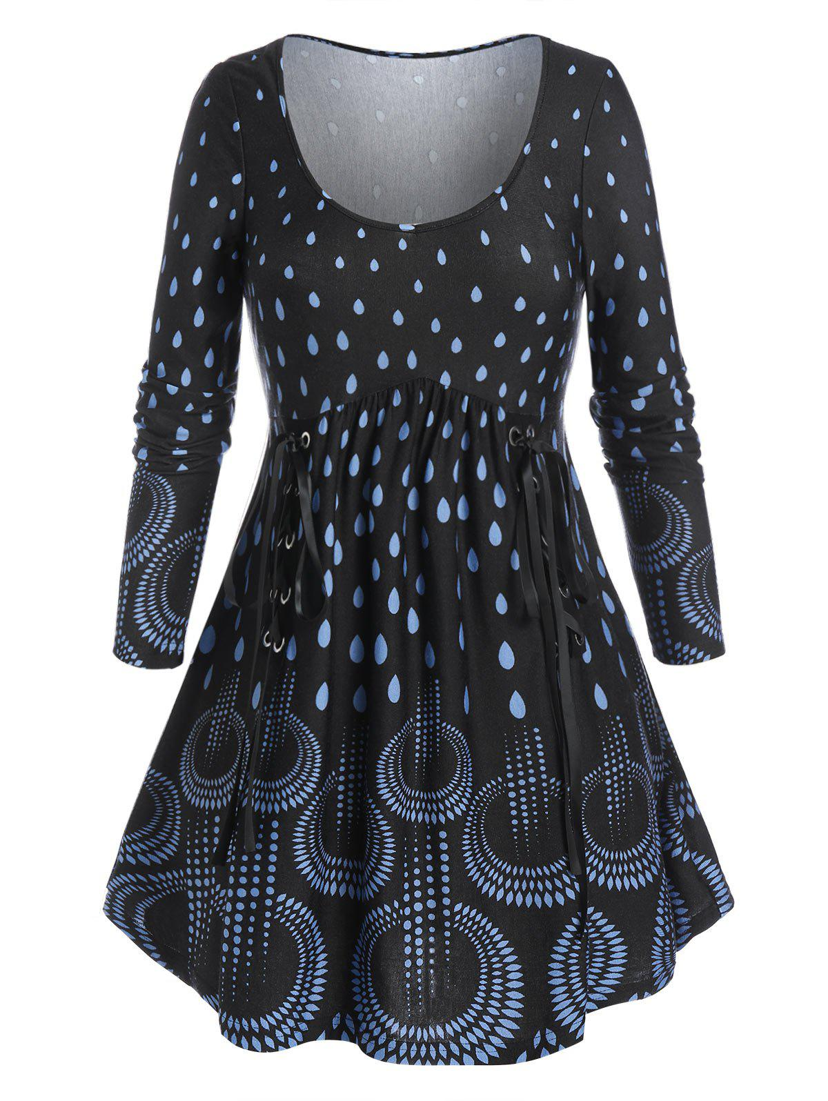 Sale Plus Size Waterdrop Print Lace-up A Line Tunic Tee