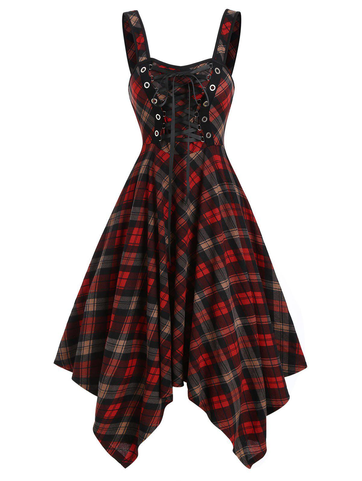 Outfit Sleeveless Lace-up Plaid Print Handkerchief Dress