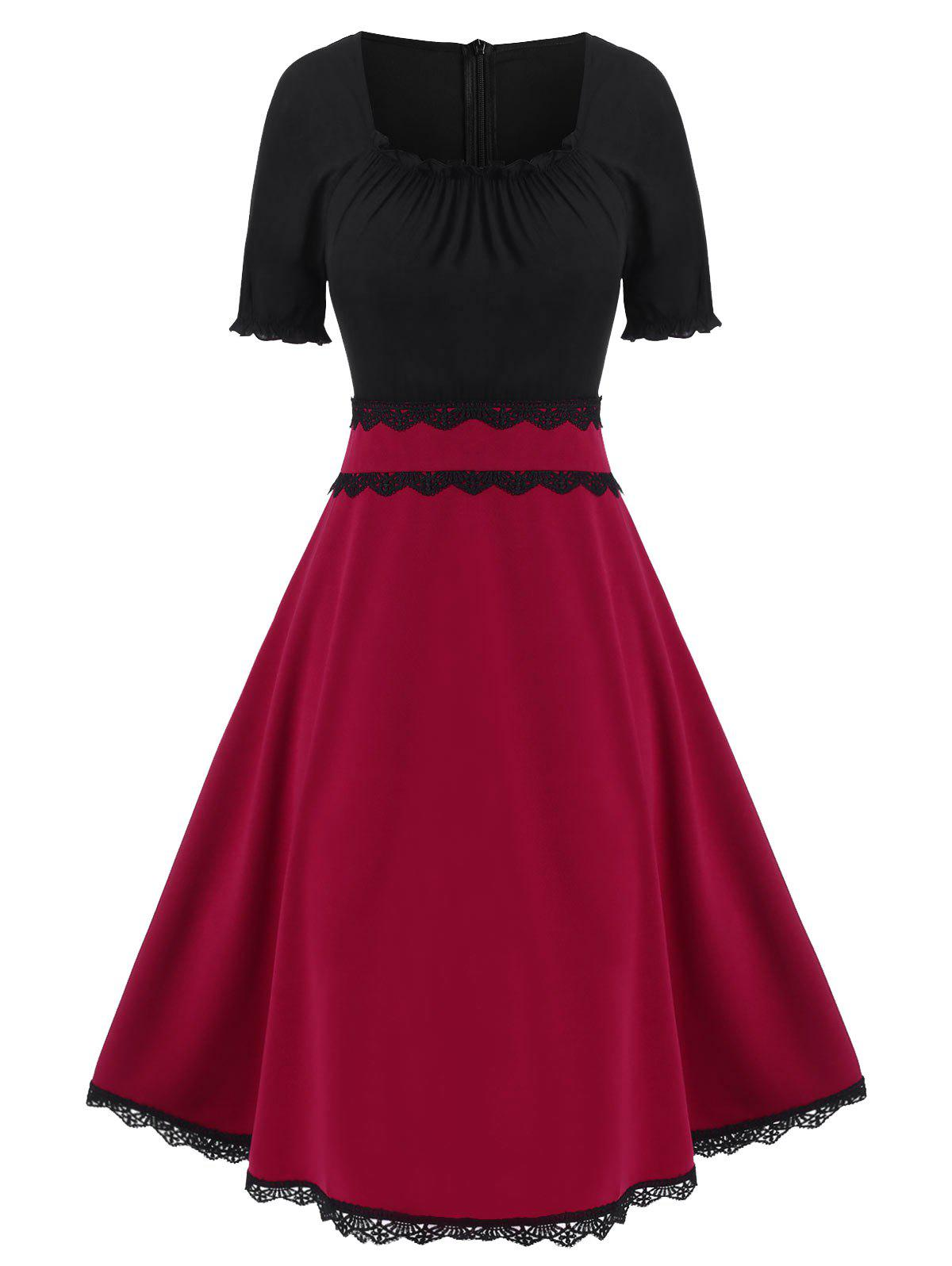 Discount Contrast Color Ruffled Trim High Waist A Line Dress