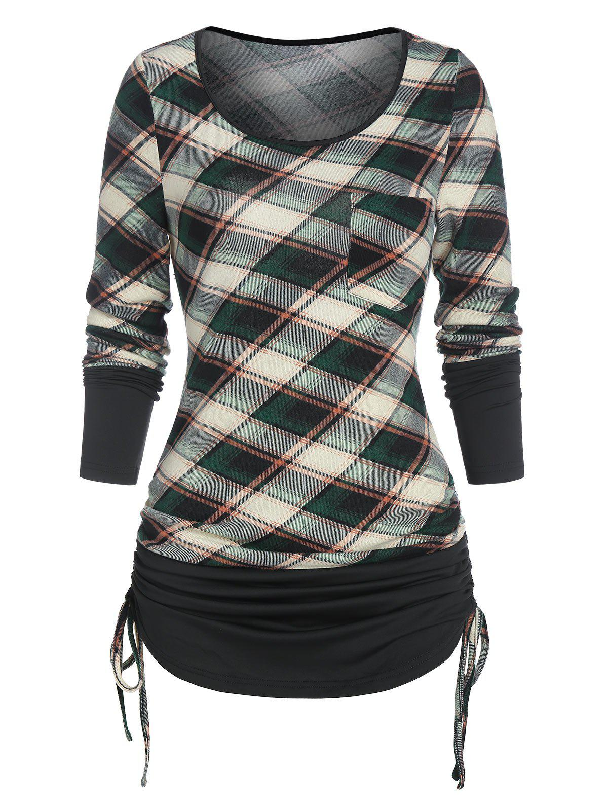 Outfit Ruched Plaid Cinched T Shirt